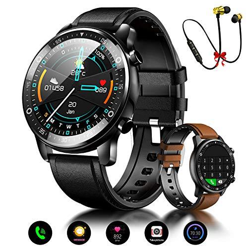 Smartwatch Reloj Inteligente Hombre Mujer Niños Monitor Pulso Cardiaco Pulsera Actividad Reloj Inteligente Cardio Podómetro Bluetooth Reloj Deportivo Impermeable Cronómetro para Android iOS(Negro)