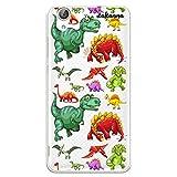 dakanna Funda Compatible con [ Huawei Y6 II - Honor 5A ] de Silicona Flexible, Dibujo Diseño [ Patrón de Dinosaurio ], Color [Fondo Transparente] Carcasa Case Cover de Gel TPU para Smartphone