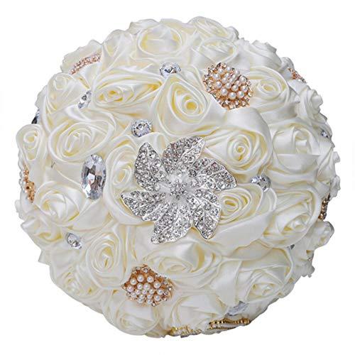 Milk Color Series Bride Bridesmaid Rhinestone Holding Bouquet Wedding Supplies Artificial Flowers