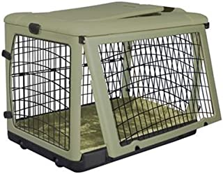 Pet Gear Deluxe Steel Pet Dog Safety Indoor / Outdoor Collapsible Crate with Bolster Pad - Small/Sage