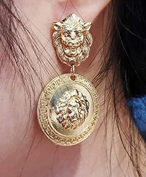 DOUBNINE Lion Head Earrings Coin Gold Baroque Earrings Vintage 80 s for Women