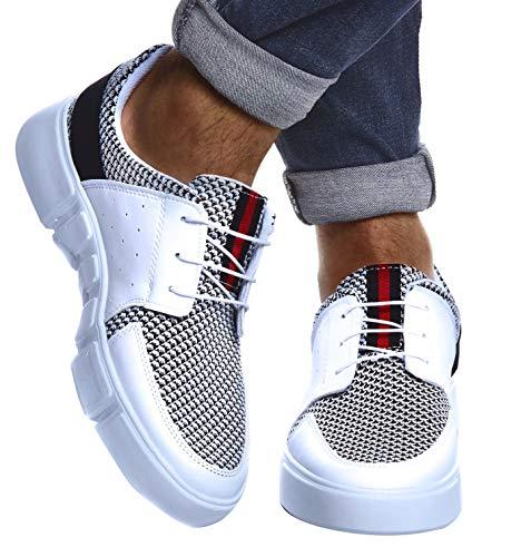 Leif Nelson Herren Schuhe für Freizeit Sport Freizeitschuhe Männer weiße Sneaker Sommer Coole Elegante Sommerschuhe Sportschuhe Weiße Schuhe für Jungen Winterschuhe Halbschuhe LN884; 42, Weiß