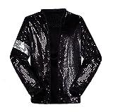 Michael Jackson Costume VestePantalon pour Adulte Enfant Billie Jean Jacket Danse Cosplay (Enfant Veste, W:30kg-35kg H:130-140cm)