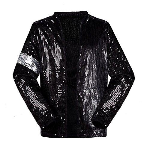 Shuanghao Michael Jackson Kostüm Jacke Hosen für Erwachsene Kind Billie Jean Jacke Tanz Cosplay Schwarz (W:16.5kg-19kg H:100-110cm, Kinderjacke)