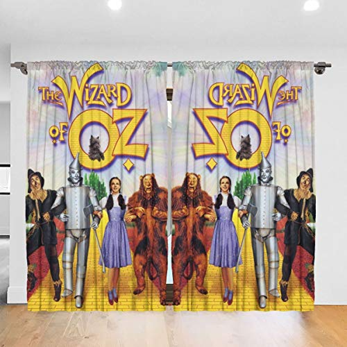 Wonderful Home Life The Wizar-d of O-z Blackout Curtains 2 Panels Grommet Bedroom Curtai,52 X 72 in,Rod Pocket