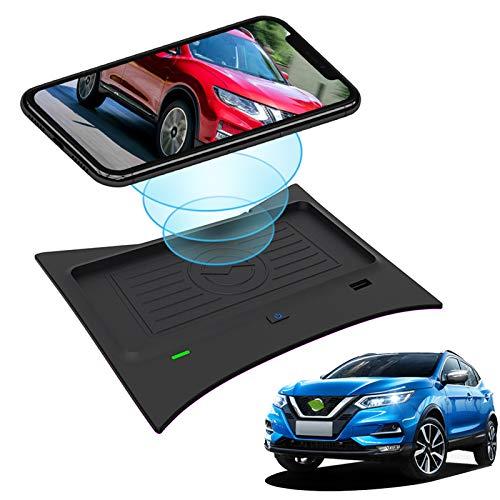 Cargador de coche inalámbrico para Nissan Rogue T32 2014-2020, Rogue Hybrid 2017-2019, Rogue Sport 2017-2020 Accesorios Consola central, Cargador de teléfono de carga rápida de 10w para Iphone, Gala