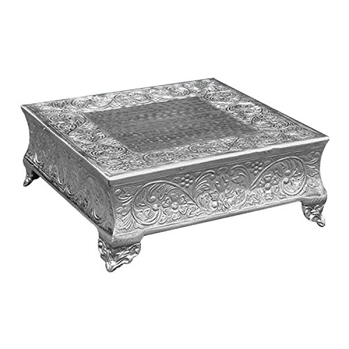 Giftbay Creations 16x16 Silver Square Cake Stand