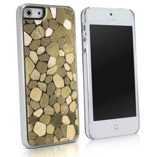 BoxWave LuxePave iPhone 5 Hoesje - Hybride Hard Plastic Mozaïek Patroon Meisjes Hoesje Met Glanzend Mozaïek Ontwerp - Apple iPhone 5 Hoesjes en Hoezen (Goud)