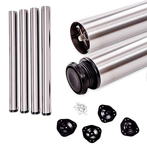 sossai® Standard Pieds de table STBGS | réglable en hauteur (+2cm) | Design: acier inoxydable brossé | Lot de 4 | Hauteur: 71 cm (710 mm) | Outils pour l'assemblage inclus