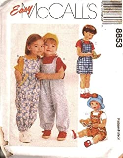 McCall's Sewing Pattern 8853 Toddler Overalls in 2 Lengths, CB (1 2 3)