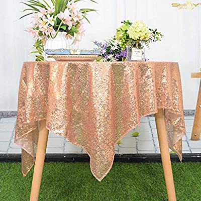 Rose Gold Sequin Overlay Sparkly Rose Gold Sequin Tablecloth Glitz Sequined Table Linen