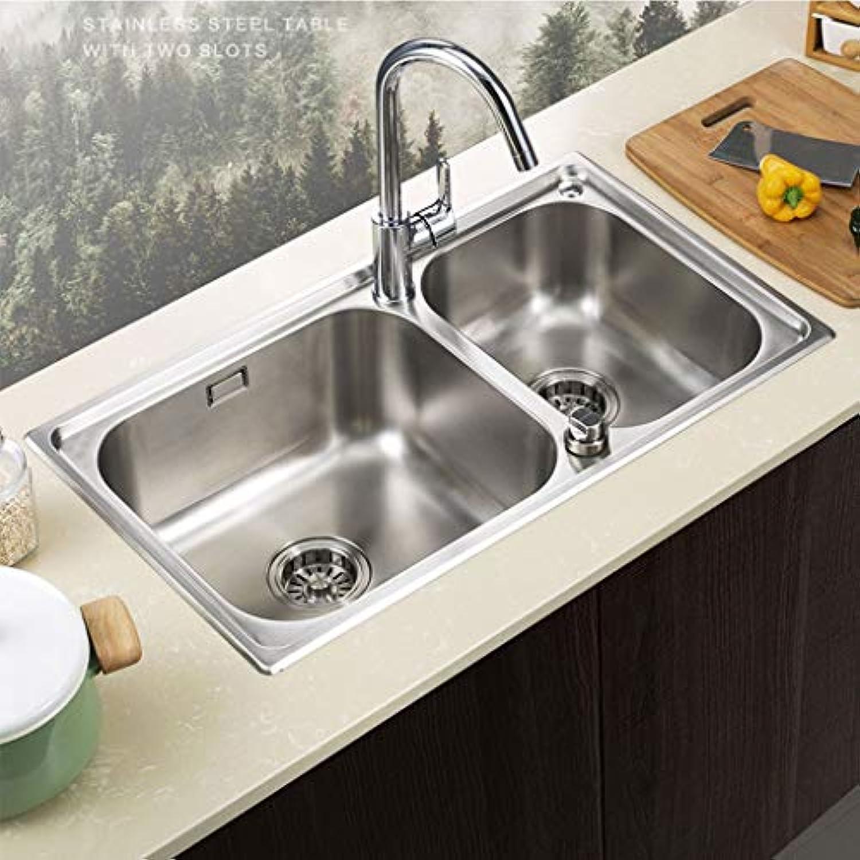 Einfach zu subern Edelstahlspüle Doppelschlitzküche Integrierte Formierverdickung Control Sink Küchenspülen