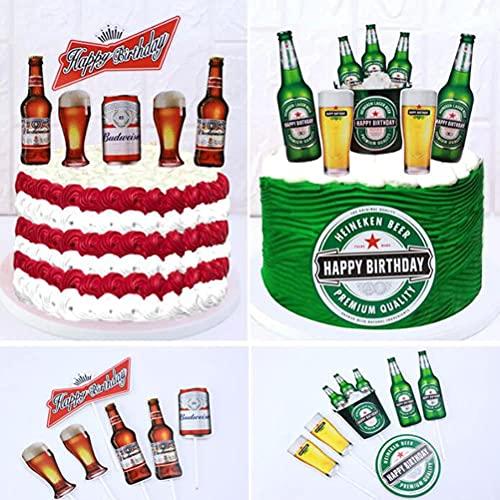 LNHJZ 12pcs Beer Cake Topper Flag Happy Birthday Cupcake Wrappers Miniatura Botellas de Vino Cake Topper Dollhouse Cake Accesorios para Hornear DIY Cumpleaños Boda Fiesta Decoración de la Torta