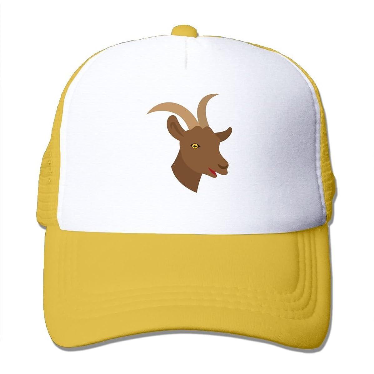 WYF Male Cute Goat Face Outdoor Mesh Hat Golf Sanpback Cap Hat Adjustable Black