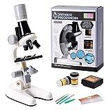 Courti - Microscopio para niños, kit de microscopio científico para niños, con luces LED, aumento 100X 400X y 1200X, para regalos de cumpleaños y regalos de vacaciones