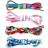 Jurxy 4 Paare Gedruckt Buntes Muster Schnürsenkel Flache, breite Schnürsenkel für Frauen Mädchen und Kinder Sport Canvas Schuhe Bunter Shoestring - Regenbogenflagge Rosa Blau