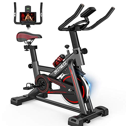 DR.GYMLEE M10 Steel Sturdy 45LB Weighted Flywheel Exercise Bike, Quiet Indoor Cycling Bike Stationary for Home Gym with Comfortable Seat Cushion, LCD Display, Silent Belt Drive, iPad Holder