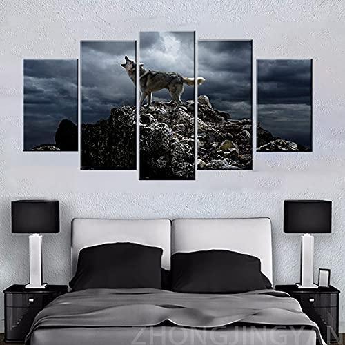 5 piezas de pintura de pared de tormenta de montaña impresiones en lienzo póster de lobo aullido para decoración moderna del hogar (tamaño 1)