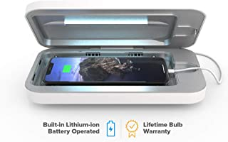 PhoneSoap Go Battery-Powered Smartphone Sanitizer & Portable Charger | Patented & Clinically Proven UV Light Disinfector | (White)