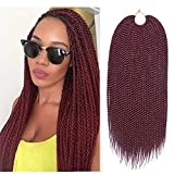 Refined 7Packs18inch 30stands/pack Senegalese Twist Crochet Braids 16 Colors Avaliable for Black Women Low Temperature Fiber Synthetic Braiding Hair Extensions (18inch,#530)