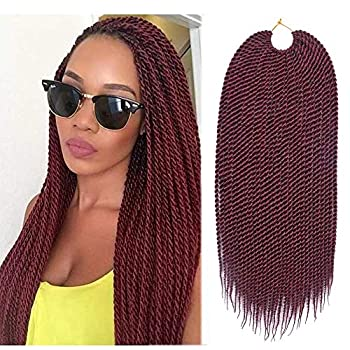 Refined 7Packs18inch 30stands/pack Senegalese Twist Crochet Braids 16 Colors Avaliable for Black Women Low Temperature Fiber Synthetic Braiding Hair Extensions  18inch,#530