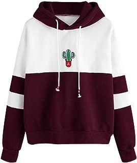 DongDong Ladies Casual Blouse Long Sleeve Cactus Print Hoodie Sweatshirt Hooded Tops