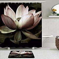 WOTAKA シャワーカーテン バスマット 2点セット 蓮の花のアートプリント 自家 寮用 ホテル 間仕切り 浴室 バスルーム 風呂カーテン 足ふきマット 遮光 防水 おしゃれ 12個リング付き
