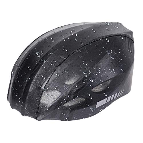 Vihir Helm Regenschutz Helmüberzug Regenhülle Helmschutz Fahrradhelm Regenüberzug Refleksstreifen Staubdicht-Universalgröße Elastisches Kanten Design Black