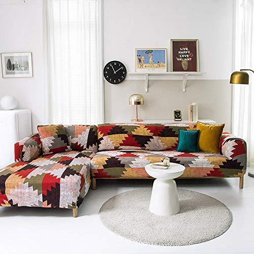 Funda Sofas 2 y 3 Plazas Podomia Fundas para Sofa con Diseño Elegante Universal,Cubre Sofa Ajustables,Fundas Sofa Elasticas,Funda de Sofa Chaise Longue,Protector Cubierta para Sofá