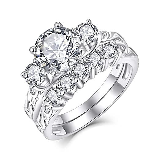JO WISDOM Damen Ring Silber 925,Brautset Verlobungsring Hochzeitsring Jubiläumsring Solitärring Promise Ring 3-Stein mit 8mm 5A Zirkonia, Schmuck für Frauen