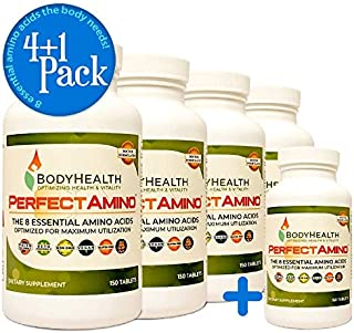 BodyHealth PerfectAmino (4+1 Pack) All 8 Essential Amino Acids Supplements with BCAAs, Increase Muscle Recovery, Boost Energy & Stamina, 99% Utilization, Vegan Branched Chain Protein Pre/Post Workout