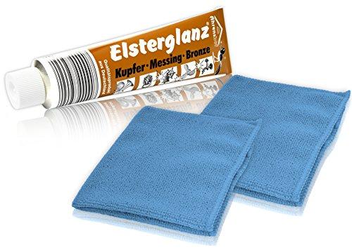 Helmecke & Hoffmann * Elsterglanz Kupfer-Messing-Bronze Politur 150 ml XXL-Tube + Zwei Mikrofaser-Tücher | Das Original aus Deutschland