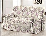Home Life – Cubre sillón – Elegante Protector de sofás con Flores – Funda de sofá de algodón para Proteger del Polvo, Las Manchas y el Desgaste, Fabricado en Italia – Rosa