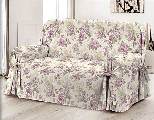 HomeLife – Cubre sofá de 2 plazas – Elegante Protector de sofás con Flores – Funda de sofá de algodón para Proteger del Polvo, Las Manchas y el Desgaste, Fabricado en Italia – Rosa