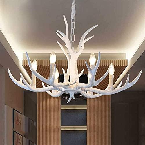 Lámpara colgante de cuerno de ciervo de resina blanca vintage, 6 luces, lámpara de cuerno de campo, sala de estudio/oficina, comedor, dormitorio, sala de estar, lámpara