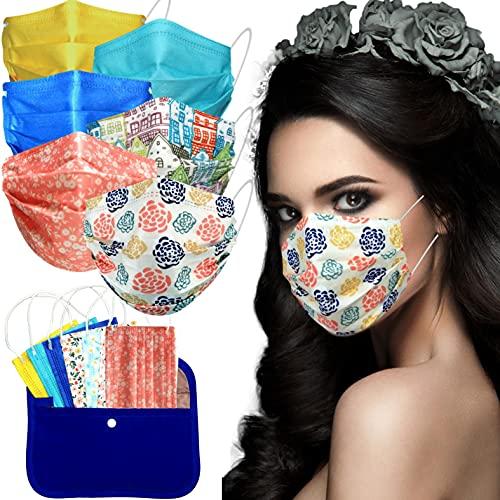 MVT - 60x Mascarilla Protectora Higiénica Desechable UNE 0064-1:20 3 capas Colores y Estampados Variados + Mask Case de tela color aleatorio (2) 🔥