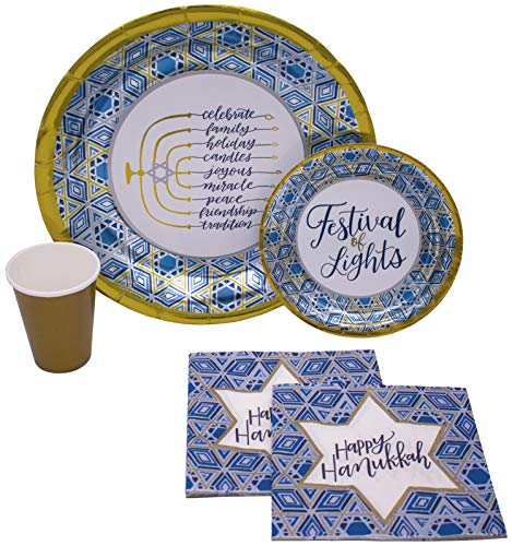 Hanukkah Festival of Lights Tableware Pack! Disposable Paper Plates, Napkins and Cups Set for 18