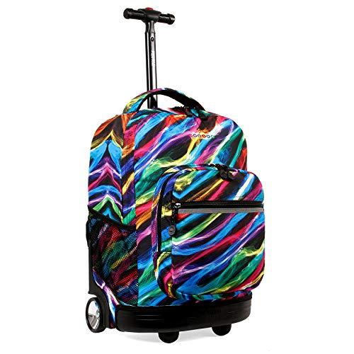 "J World New York Sunrise Rolling Backpack. Roller Bag with Wheels, Quantum, 18"""