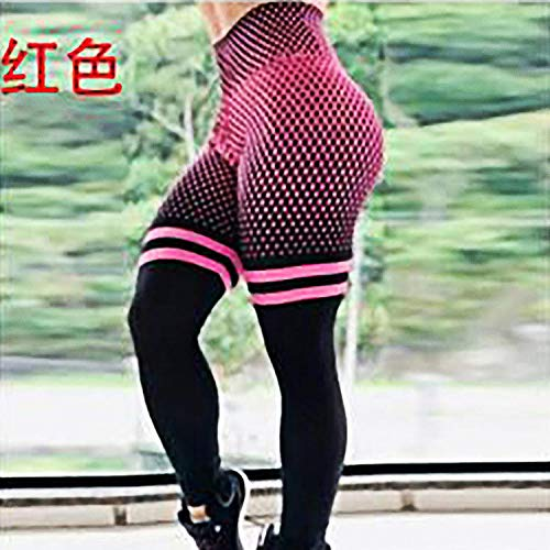 4-way stretch yoga-legging,Geruite ademende yogabroek, hardlooplegging-rood_L,Yogabroek extra zachte legging met zakken voor dames