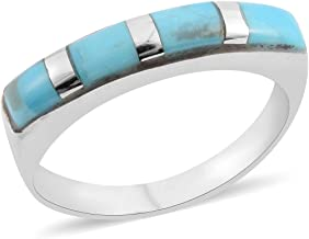 Band Ring 925 Sterling Silver Turquoise Southwest Jewelry for Women