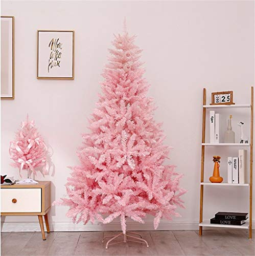 GJXJY Pink Artificial Pink Christmas Tree Ornaments, Holiday Indoor and Outdoor Decoration,Easy Assembly, Foldable Metal Stand180cm/6ft