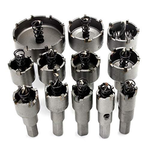 Lpgg-ZZ Kit De Sierra De Orificio De Carburo De 12 Piezas A 50 Mm para Aluminio, Acero, Madera, Plástico, Tablero De Yeso, Acero Inoxidable, Etc.