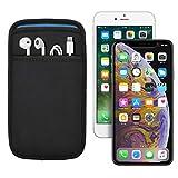 (ポケット付) iPhone XS Max/11 Pro Max (6.5インチ) 6/6s/7/8 Plus (5.5インチ) 用 JustFit. スリーブケース (ブラック/ブルー) 専用設計だからジャストフィット 周辺機器が収納出来るポケット付 IP6PJFSCPBB