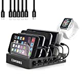 USB Charging Station for iPhone,COSOOS Charger Station with 5 Short lPhone Charger Cables,1 Type-C,1 Micro Cable,lWatch Stand,6-Port Charging Station for Multiple Devices,Tablet,Kindle