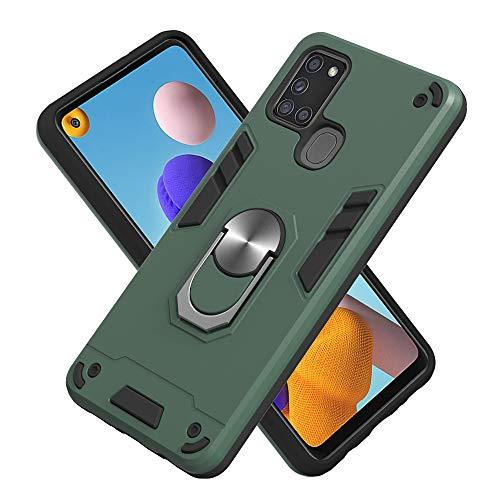 Armure Coque Samsung Galaxy A21S, Boîtier PC + TPU Double Layer Housse résistant aux Chocs avec Support à Anneau Rotatif à 360 degrés (Vert foncé)