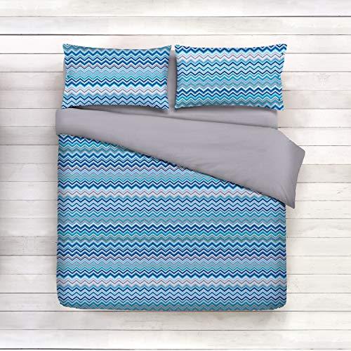 Smartsupershop Housse de Couette avec taies d'oreiller pour lit – Cercles Bleu – Y Compris sous avec Coins en coordonné – en Coton Fabriqué en Italie