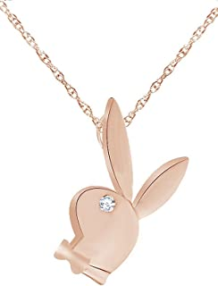 Christmas Holiday Sale 14K Gold Over Sterling Silver White CZ Play Bunny Pendant Necklace