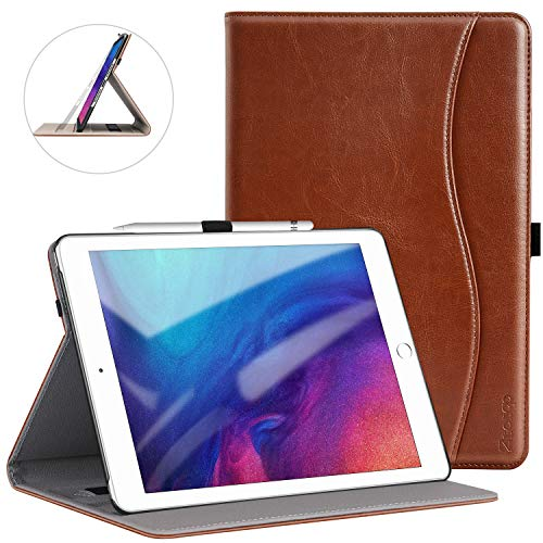 Ztotop iPad 10.2 ケース 第七世代 高級PUレザー製 ペンシル収納 オートスリープ機能 ポケット付き 手帳型 ...