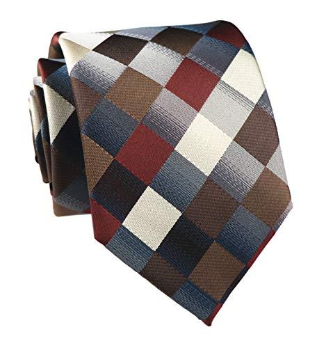 Elfeves Men's Classic Designer Plaid Ties Checks Patchwork Necktie Brown Grey Diamond Patterned Silk Tie