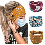 Bohend Boho Button Headbands Wide Stretchy Daily Use Hair Band Headwear Sport Athletic YogaGym Hair Accessories for Women and Girls(3pcs) (K)